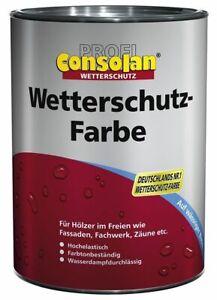 Consolan Profi Wetterschutzfarbe 2,5 L Holzfarbe Deckfarbe NEU (Farbwahl)