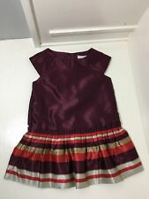 Janie And Jack Maroon Red Dress Stripes Baby Toddler Girls 18-24 Months