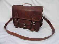 Vintage Leather Briefcase Messenger Bag Satchel 15 In Laptop Office Shoulder Bag