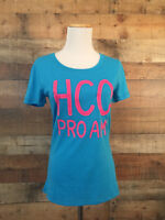 Hollister Women's Short Sleeve TShirt Jr Size M Aqua & Pink Pro Am Logo NWT