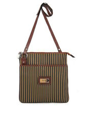 LARGE CANVAS CROSS BODY STRIPED COGNAC LEATHER TRIM