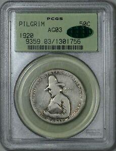 CAC 1920 Pilgrim PCGS AG 03 CAC ogh Old Green Holder Lowball Half Dollar 50c