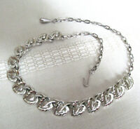 CORO choker necklace silver tone leaf floral 16 inch Costume jewelry Vintage