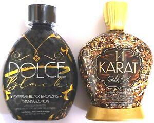 Designer Skin 14 Karat Gold Rush & DOLCE Black Bronzer Tanning Bed Lotion