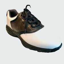 New listing Footjoy MensGolf Shoes Size 9 White Brown 45516 Lace Up Low Top Spikes