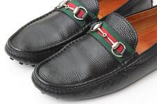GUCCI 'Damo' Black Pebbled Web Horsebit Driving Moccasin Loafer UK 10 / US 11