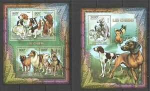 CA832 2012 CENTRAL AFRICA FAUNA PETS DOGS DOMESTIC ANIMALS BL+KB MNH
