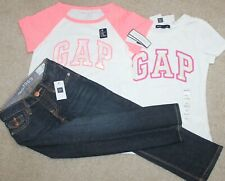 New! Girls Gap 3 pc Outfit/Lot (2 Shirts, Slim Blue Jean) - Size XSmall 4-5