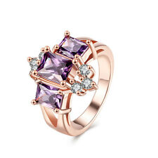 Stunning 18K Rose Gold GP Purple Crystal Solid Wedding Engagement Ring Size 8