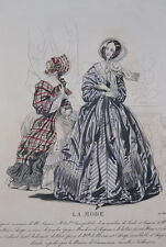 GRAVURE COULEURS LA MODE 1840-OLD FASHION PRINT XIXe SIECLE COSTUME MD72