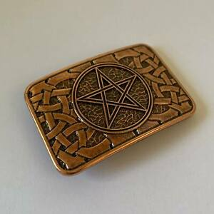 Pentagram Belt Buckle Five Pointed Star Rectangular Occult Wiccan Hand Made