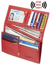 New Women Lady's Genuine Red Leather Wallet