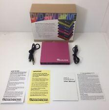 PC Treasures DVD-RW Drive USB 2.0 Model 07186-PG Pink Netbook/Laptop Opened Box.