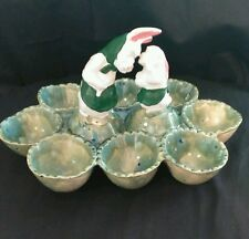 Easter Pottery Mother/Child Rabbit Surrounded by 8 Marbleized Egg Tray