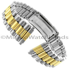 16-22mm Gilden Stainless Steel & Gold Tone Mens Clasp Safety Watch Band 1536-TXL
