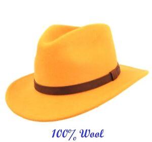 ✅ Showerproof Gents Crushable High Quality 100% Wool Felt Fedora Hat