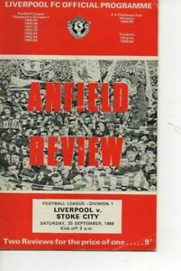 Liverpool v Stoke City 1969/70 Division 1 complete with League Review