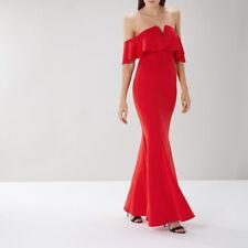 BNWT Coast Sade Red Scuba Bardot Mermaid Evening Maxi Dress Ball Gown Size 18