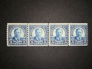 RIV: US MNH 602 Line Pair in Strip of 4 FRESH 5 cent 1923 coil mint joint lp 2C