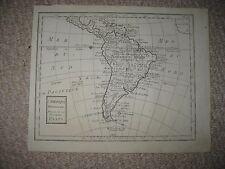 ANTIQUE 1750 SOUTH AMERICA COPPERPLATE MAP TERA FIRMA MAGELLAN BRAZIL PERU CHILE