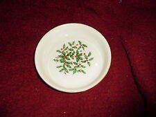 Lenox Holly Berry round ivory candy dish/gold trim