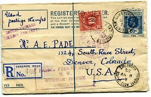 1935 Silver Jubilee Mauritius 40gr reg rate on uprated PS Envelope CUREPIPE ROAD
