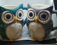 Two Great Gatherings Owl Design  17 Oz 1teal 1grey Color Coffee Mugs