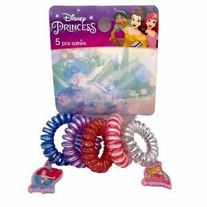 Disney Princess 5 piece Hair Spirals Hair ties Hair Charms Sparkly NEW WITH TAGS