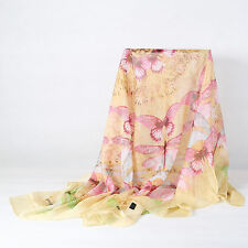 Extra Large Square Chiffon Scarf Light Yellow Theme Butterfly Print CHF104