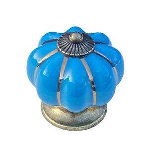 Bright Blue Ceramic Cabinet Door Knobs. Drawer Pulls. Vintage Pumpkin Style.