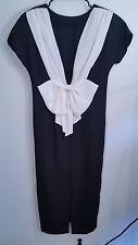 """Womens Karin Stevens Bow Front Zipper Midi Dress Size 6 White black 38"""" Bust"""