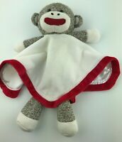 Baby Starters Blanket Soft Plush Security Lovey Sock Monkey Red White Rattle
