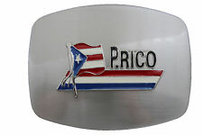 New Men Women Silver Metal Fashion Belt Buckle Big Size Puerto Rico Flag Country