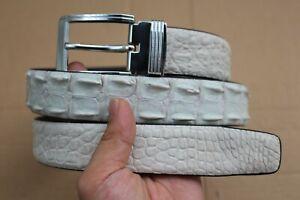 "White Genuine Alligator ,CROCODILE Leather SKIN Men's Belt - W 1.5"""