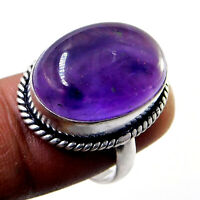African Amethyst 925 Sterling Silver Plated Handmade Jewelry Ring Us Size 7''