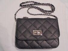 Black Vinyl Quilted Chain Satchel Crossbody Shoulder Bags Handbags Purse Black