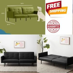 Futon Sofa Bed Sleeper Convertible Indoor/Buttonless Tufting, Black Faux Leather