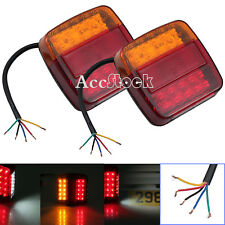 2X 12V Rear Stop LED Lights Tail Indicator Square Tail Trailer Truck Van Tipper