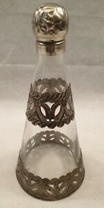 Arts & Crafts Style Glass Decanter with Decorative Pewter Overlay Art Noveau