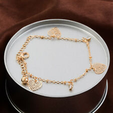 Chain Ankle Barefoot Sandal Foot Jewelry 2x Luxury 18K Gold Plated Crystal Heart