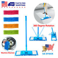 Easy Magic Microfiber Flat Mop Long Push Cleaning Pad Floor Dust Household Mop