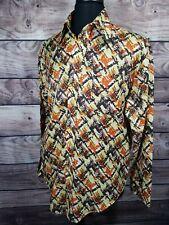 K-MART Color Splash Hippie Mod Disco Big Collar Rockabilly XL Shirt VTG  A10
