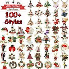 Christmas Ornaments Tree Snowman Deer Bell Enamel Brooch Pin Xmas Party Gift Hot