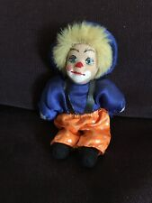 Vintage - Small Clown Doll With Porcelain Face