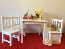 Kindersitzgruppe 1xKindertisch 2xKinderstuhl 1xKindersitzbank Massivholz weiß