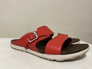 LADIES MERRELL SELECT MOVE FLAT RED LEATHER SANDALS SIDE BUCKLE UK 7 EU 40