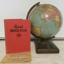 Replogle World Atlases Globes Mcm 1961 Space Atomic Deco Book Metal Stand