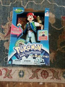 "2001 Talking Think Chip Ash & Cyndaquil Pokemon Action Figure 11.5"" New"