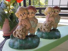 ANTIQUE ORIGINAL HUBLEY CAST IRON CAMPBELL SOUP KIDS BOY GIRL HOME ART BOOKENDS