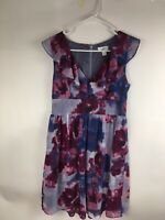 Ann Taylor LOFT Womens Dress Size 2 Flutter Sleeve Floral Purple Gray